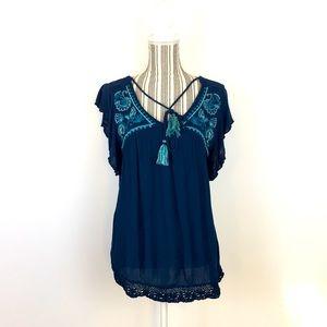 Knox Rose Size L Boho midnight blue blouse